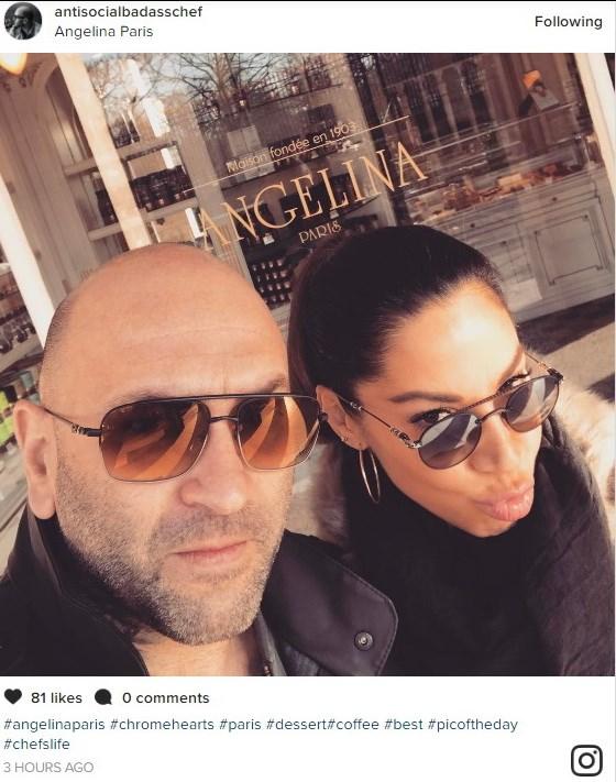 Η Μαριάντα Πιερίδη με τον σύζυγό της στο πιο διάσημο ζαχαροπλαστείο του Παρισιού