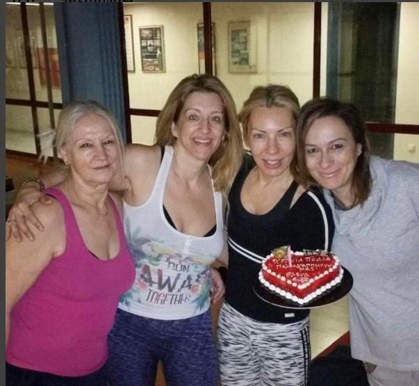 Η Έλενα Τσαβαλιά με τις φίλες της στο γυμναστήριο