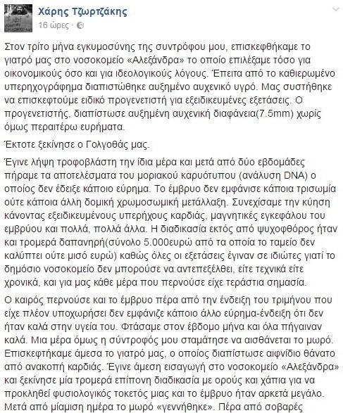 Η ανάρτηση του Χάρη Τζωρτζάκη