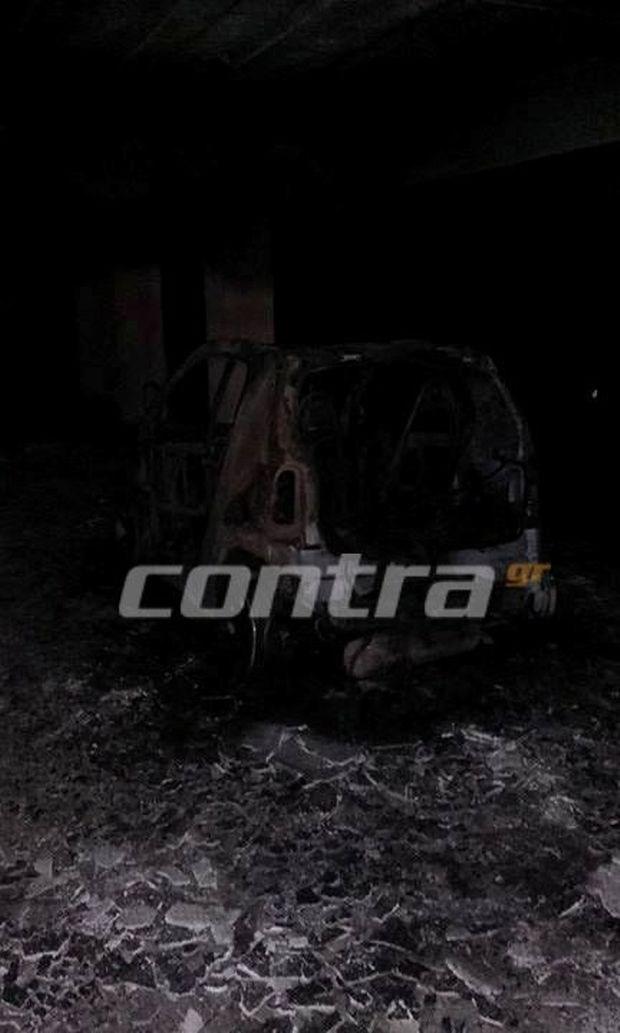 Το καμένο αυτοκίνητο της Ελένης Χατζίδου